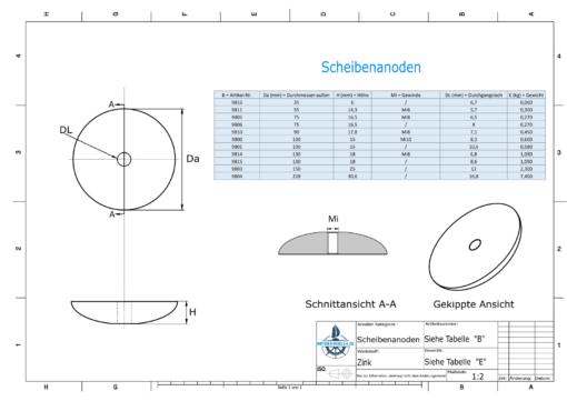 Disk-Anodes Ø 75mm | hole (Zinc) | 9806