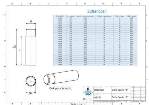Bolt-Anodes 3/8'' Ø12/L33 (AlZn5In) | 9158AL