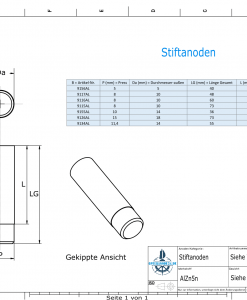 Bolt-Anodes 11,7 mm Press Ø14/L40 (AlZn5In) | 9134AL