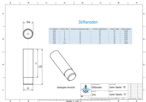 Bolt-Anodes 8mm Press Ø10/L15 (Zinc)   9117