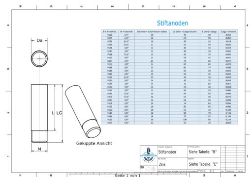 Bolt-Anodes 3/8'' Ø13/L40 (Zinc) | 9145