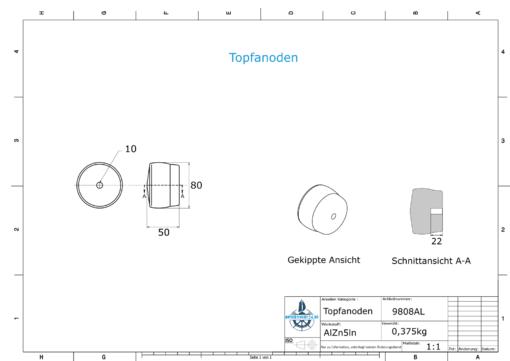 Cylinder-Anodes 80x50 Ø80 mm (AlZn5In) | 9808AL