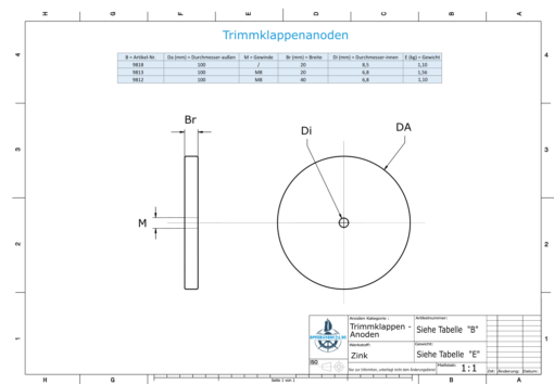Trim-Tab-Anodes with M8 100x20 Ø100 mm (Zinc) | 9813