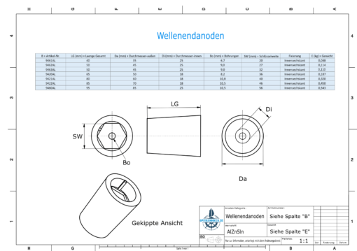 Shaftend-Anodes with hexagon socket SW32 (AlZn5In)   9463AL