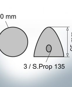 Three-Hole-Caps | Prowell Sailprop 135 Ø80/H65 (Zinc) | 9408