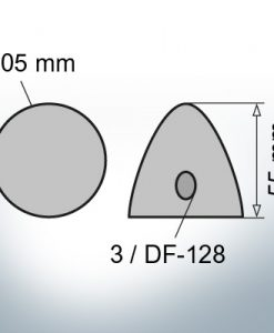 Three-Hole-Caps | suitable for DF-128 Ø105/H55 (Zinc) | 9410