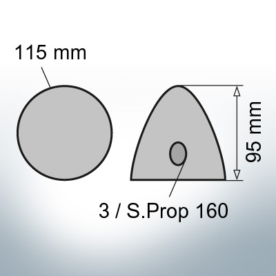 Three-Hole-Caps   Prowell Sailprop 160 Ø115/H95 (AlZn5In)   9411AL