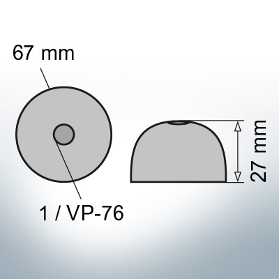 One-Hole-Caps | suitable for VP-76 Ø67/H27 (Zinc) | 9452