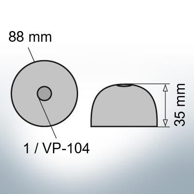 One-Hole-Caps | suitable for VP-104 Ø88/H35 (Zinc) | 9453
