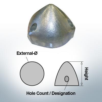 Three-Hole-Caps | Max Prop 125 Ø125/H80 (Zinc) | 9604