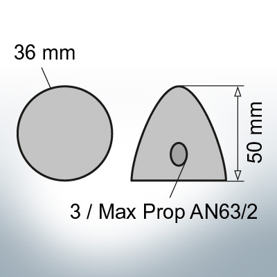 Two-Hole-Caps | Max Prop AN63/2 Ø36/H50 (Zinc) | 9609