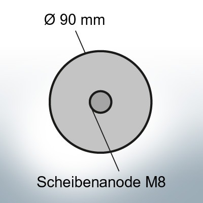 Disk-Anodes with screwhole for M8 thread Ø90 mm (AlZn5ln) | 9822AL