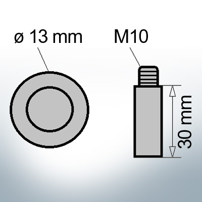 Bolt-Anodes M10 Ø13/L30 (AlZn5In) | 9106AL