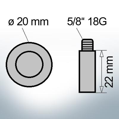 Bolt-Anodes 5/8'' 18G Ø20/L22 (AlZn5In) | 9107AL