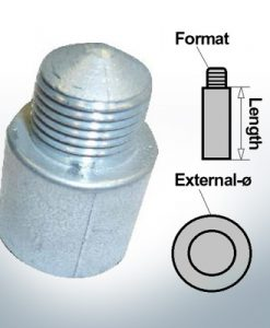 Bolt-Anodes 1/4'' 20G Ø10/L58 (Zinc) | 9109