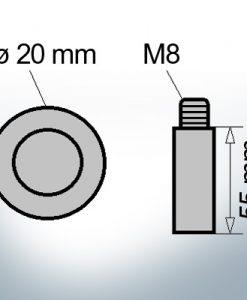 Bolt-Anodes M8 Ø20/L55 (AlZn5In) | 9112AL