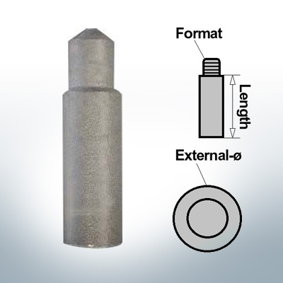 Bolt-Anodes 8mm Press Ø10/L40 (AlZn5In) | 9115AL