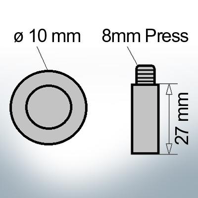 Bolt-Anodes 8mm Press Ø10/L27 (Zinc) | 9116