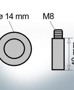 Bolt-Anodes M8 Ø14/L40 (Zinc) | 9118