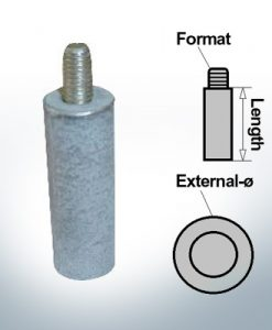 Bolt-Anodes 15mm Press Ø18/L70 (Zinc) | 9126