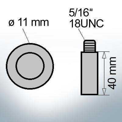 Bolt-Anodes 5/16'' 18UNC Ø11/L40 (Zinc) | 9129