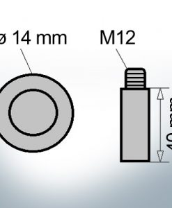 Bolt-Anodes M12 Ø14/L40 (Zinc) | 9135