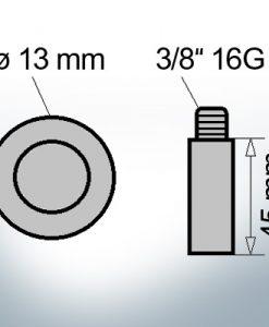 Bolt-Anodes 3/8'' 16G Ø13/L45 (AlZn5In) | 9143AL