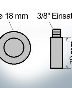 Bolt-Anodes 3/8'' Einsatz Ø18/L70 (AlZn5In) | 9147AL