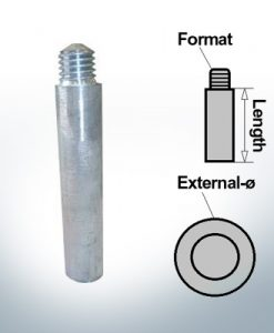 Bolt-Anodes M10 Stift Ø15/L100 (AlZn5In) | 9154AL