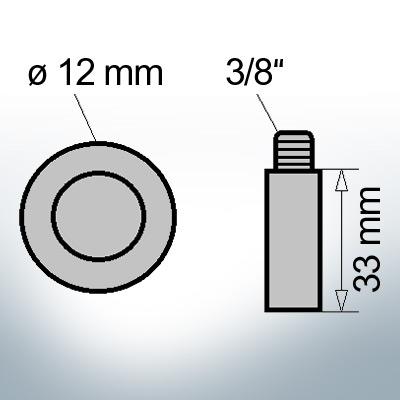 Bolt-Anodes 3/8'' Ø12/L33 (Zinc) | 9158