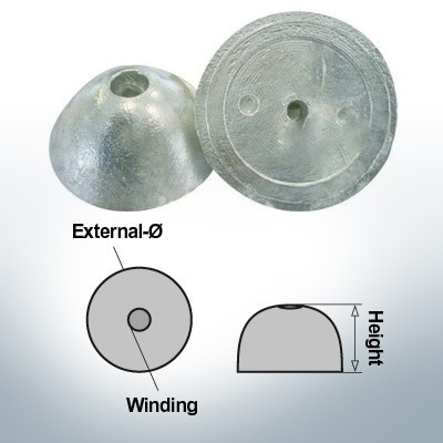 One-Hole-Caps   suitable for VP-76 Ø67/H27 (AlZn5In)   9452AL
