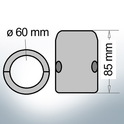 Shaft-Anode with metric inner diameter 60 mm (Zinc) | 9009