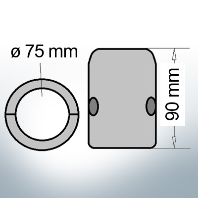 Shaft-Anode with metric inner diameter 75 mm (Zinc) | 9012