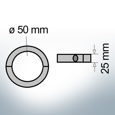 Shaft-Anode-Rings with metric inner diameter 50 mm (Zinc) | 9037
