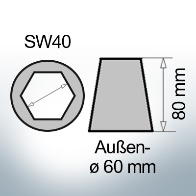 Shaftend-Anodes with hexagon socket SW40 (Zinc) | 9421