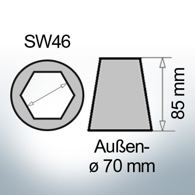 Shaftend-Anodes with hexagon socket SW46 (Zinc) | 9422