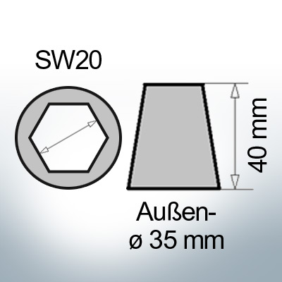 Shaftend-Anodes with hexagon socket SW20 (AlZn5In) | 9461AL