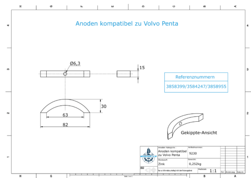Anodes compatible to Volvo Penta | Propeller-Anode (kit/3 parts) | 3858399 | 3584247 | 3858955 | (Zinc) | 9230